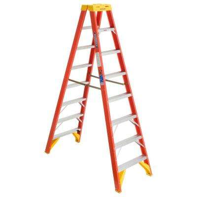 8 ft. Fiberglass Twin Step Ladder with 300 lb. Load Capacity Type IA Duty Rating
