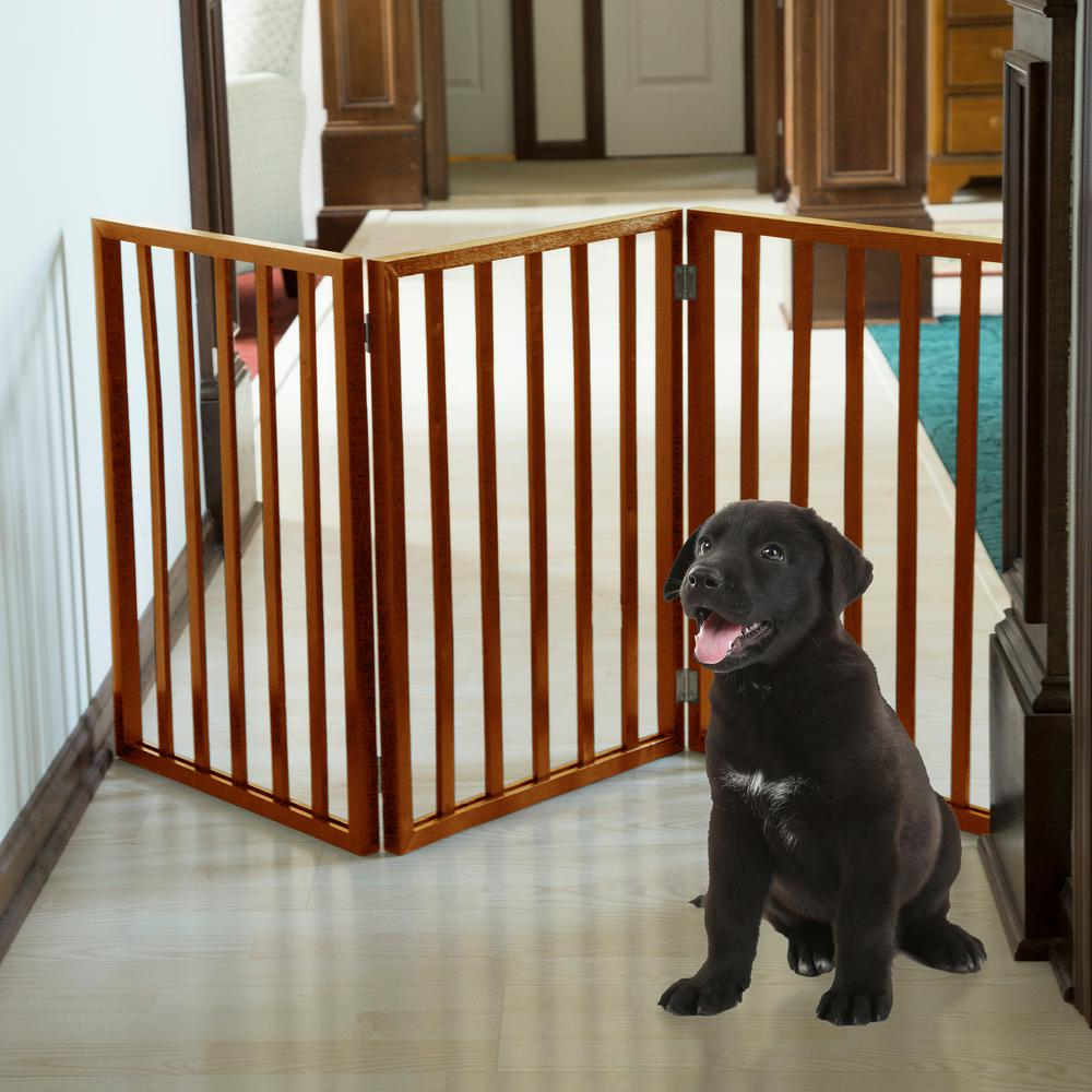 24 In X 54 Wooden Freestanding Mahogany Pet Gate