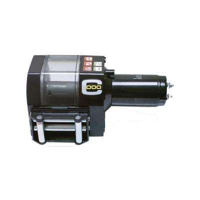 Crane Series C1000 12-Volt DC Industrial Winch with Roller Fairlead and Free-Spooling Clutch
