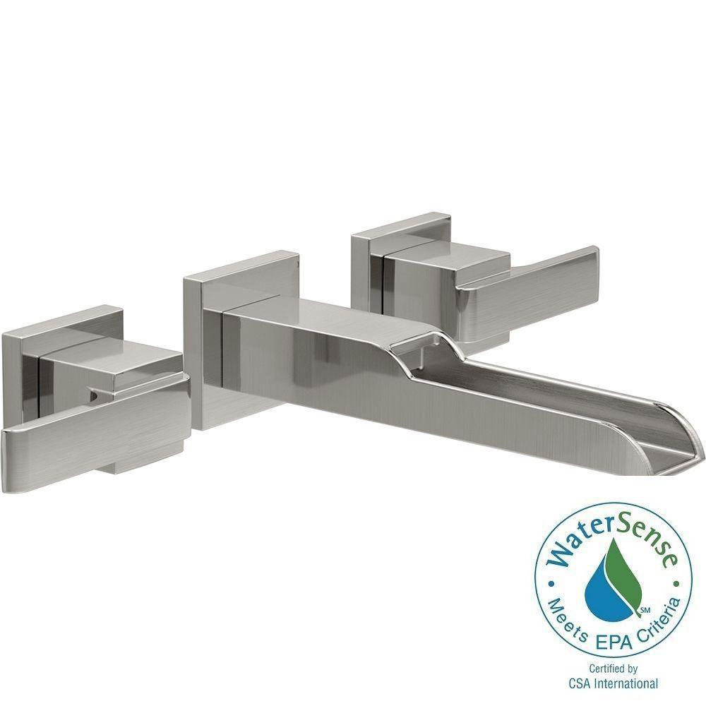 Delta Ara 8 In. Widespread 2-Handle Open Channel Spout Bathroom Faucet Trim Kit In Stainless