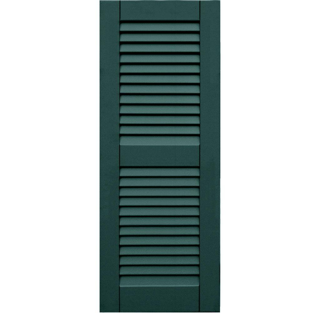 Winworks Wood Composite 15 in. x 39 in. Louvered Shutters Pair #633 Forest Green