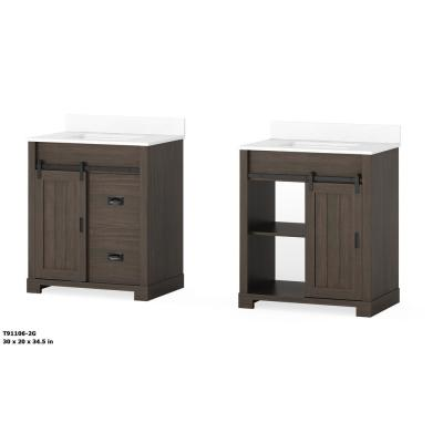 Brindley 30in. W x 21in. D Barn Door Bath Vanity in Dark Walnut w/ Engineered Carrera Vanity Top in White w/ White Basin