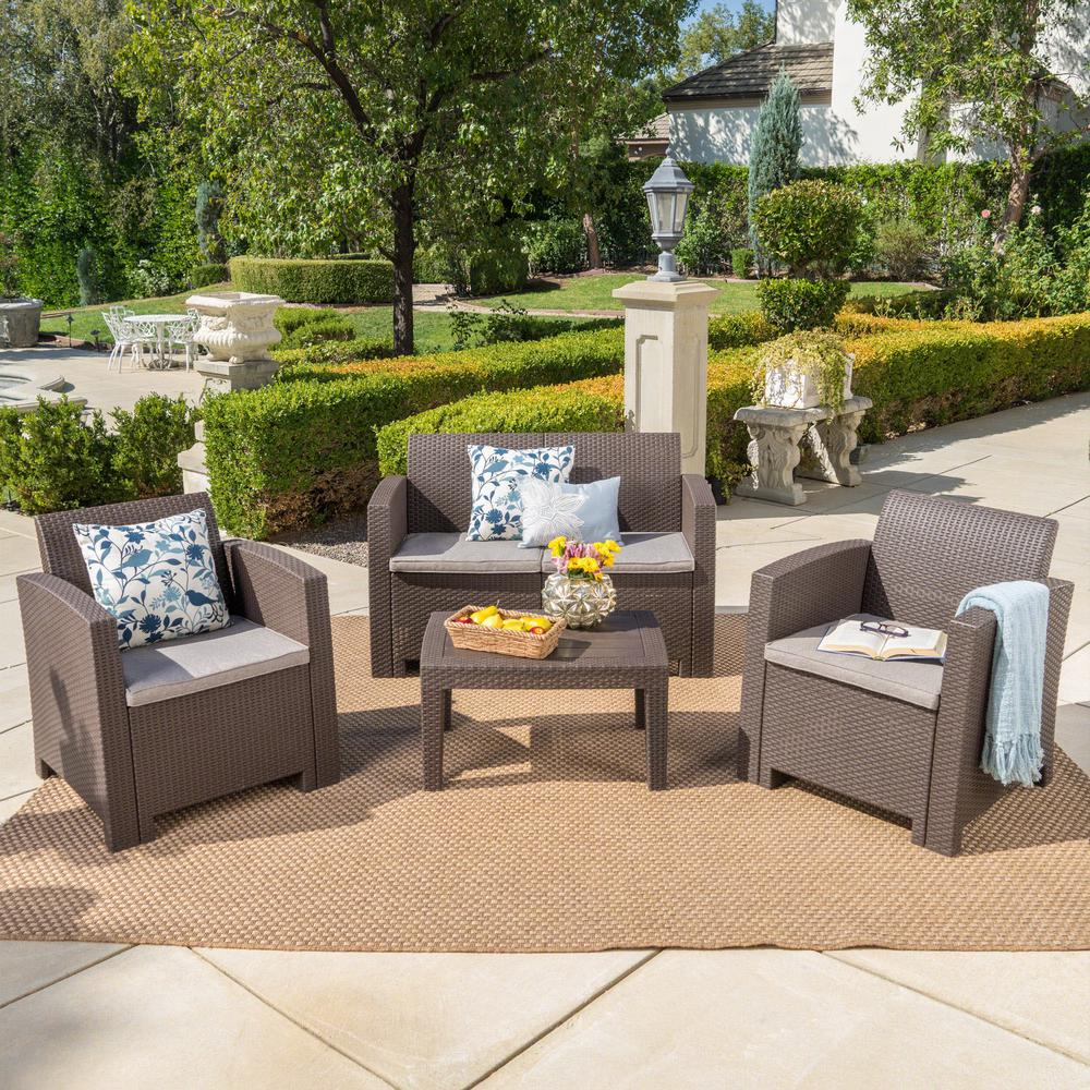 Noble House 4-Piece Wicker Patio Conversation Set with Mixed Beige Cushions