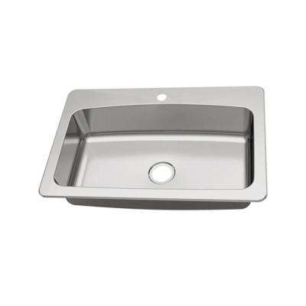 Dual Mount 18-Gauge Stainless Steel 33 in. 1-Hole Single Bowl Kitchen Sink