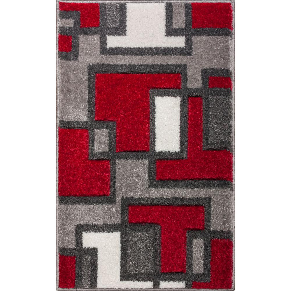 Well Woven Ruby Imagination Squares 2 Ft X 3 Modern Geometric Red