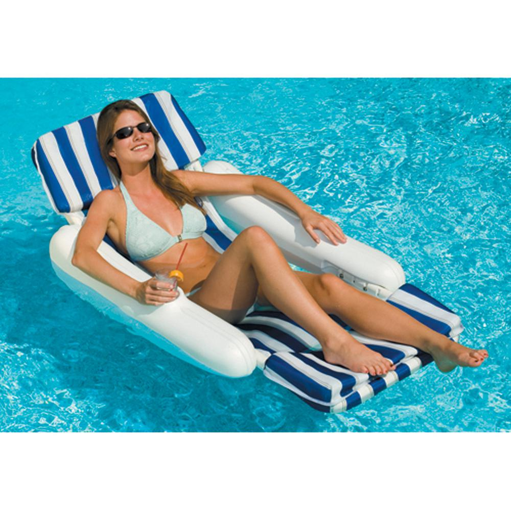 Blue White Sunchaser Padded Floating Luxury Pool Lounge Chair