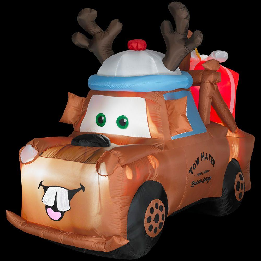 null 5 ft. Airblown Inflatable Lighted Mater with Reindeer Hat and Present