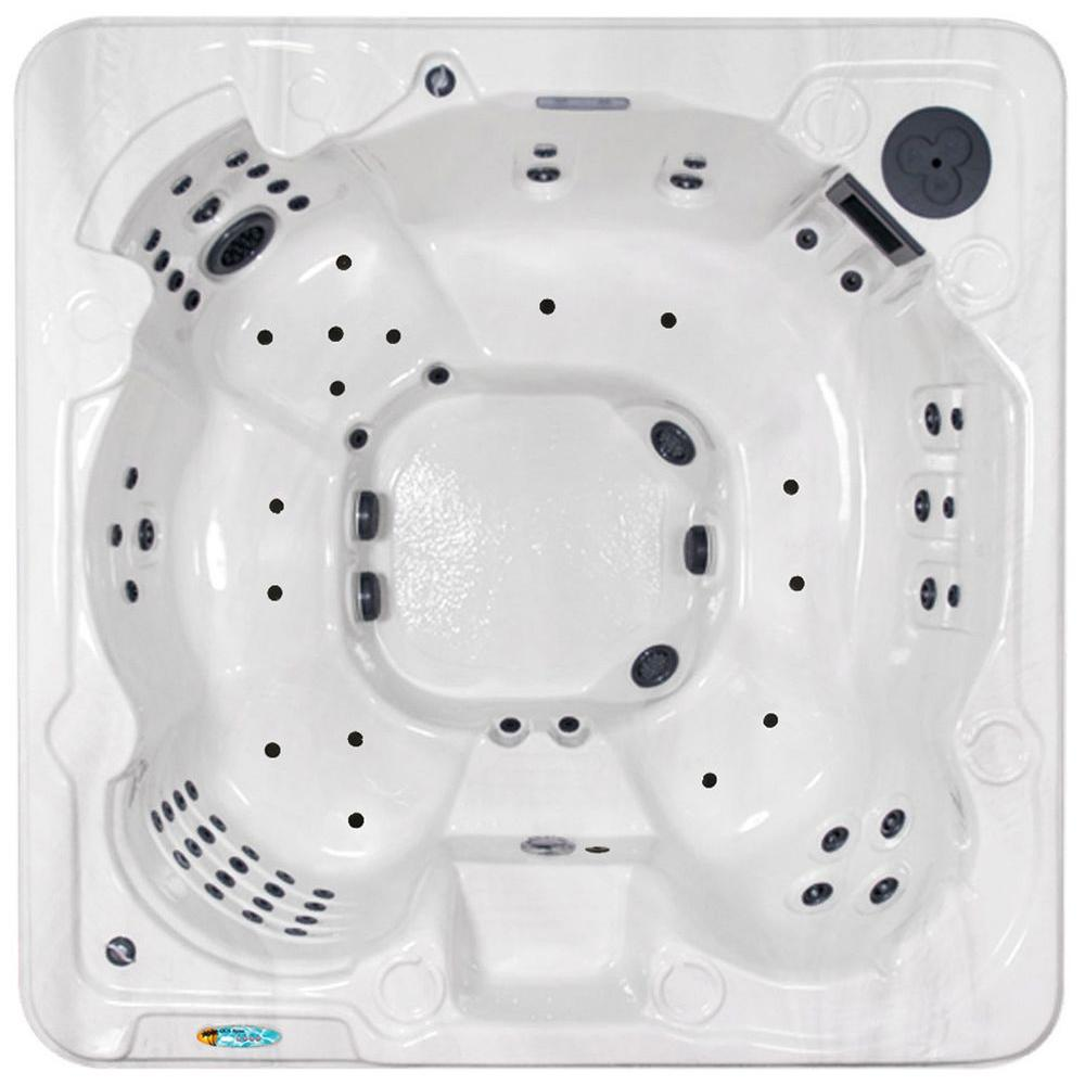 QCA Spas Venice 8-Person 90-Jet Spa with (2) 4.2 HP BT Pump 2 HP Air Blower and LED in Silver Marble-DISCONTINUED