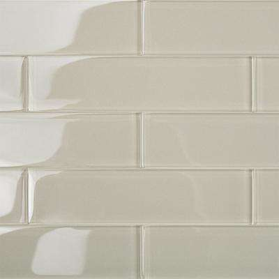 Contempo Beige 2 in. x 8 in. x 8mm Polished Glass Floor and Wall Tile (1 sq. ft.)