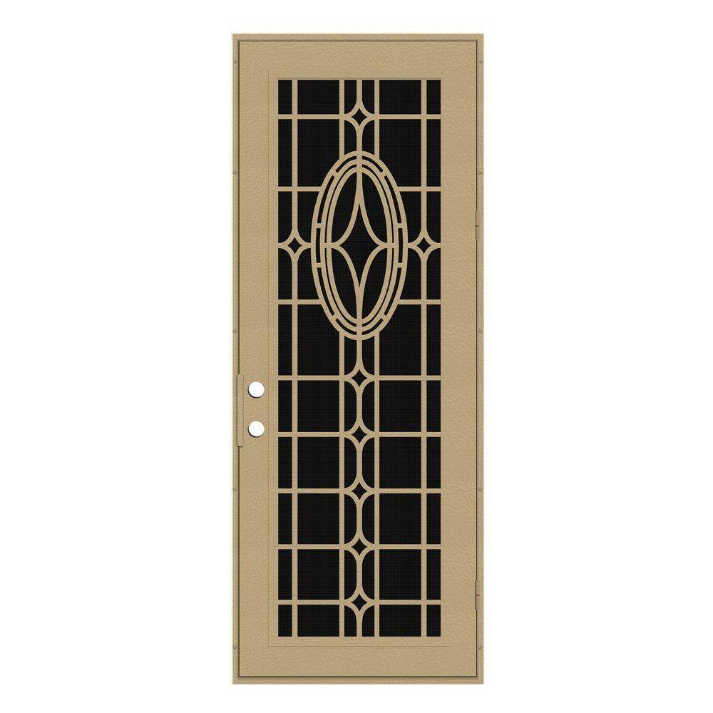 Unique Home Designs 36 in. x 96 in. Modern Cross Desert Sand Right-Hand Recessed Mount Aluminum Security Door with Charcoal Insect Screen