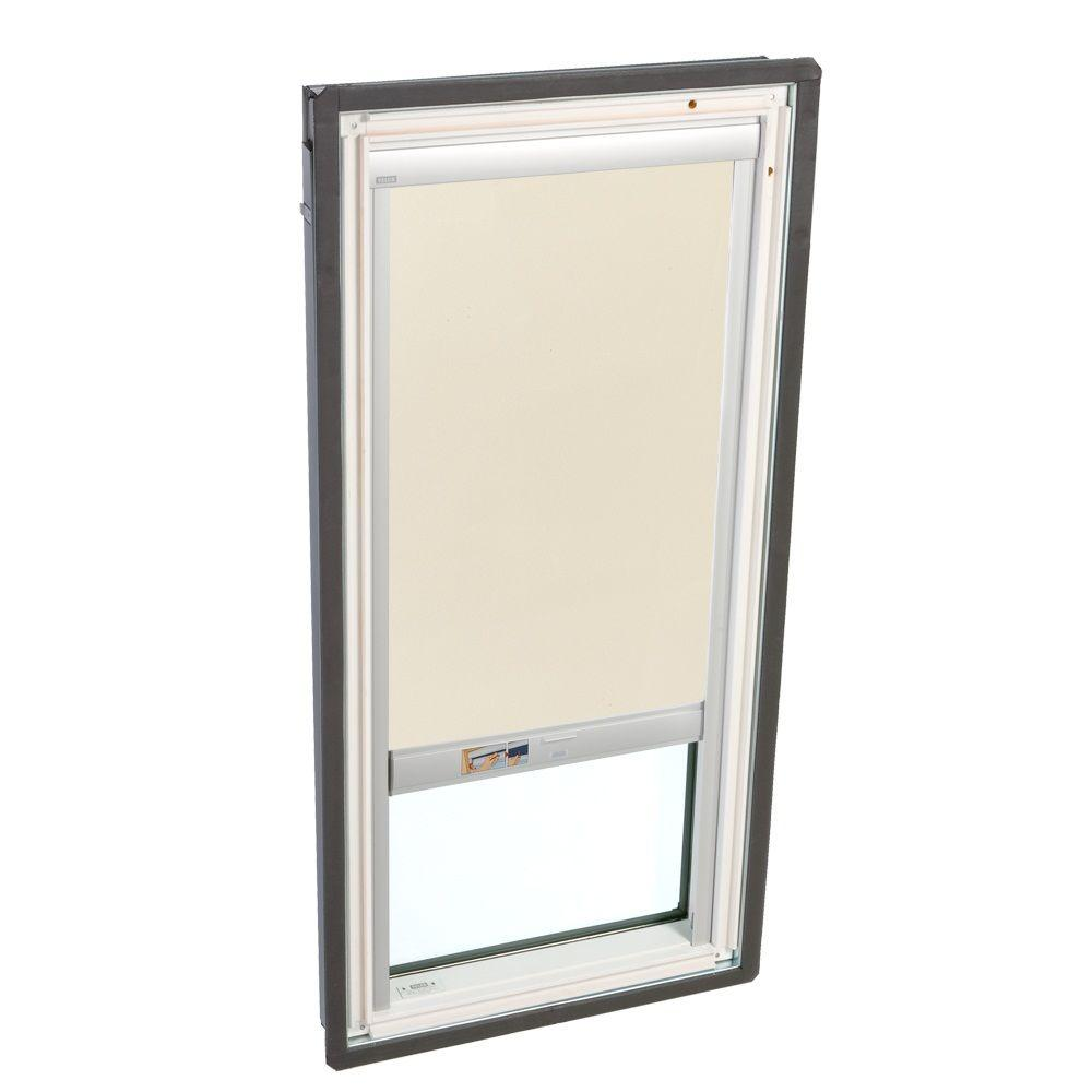 VELUX 21 in. x 45-3/4 in. Fixed Deck-Mount Skylight with Tempered LowE3 Glass and Beige Solar Powered Blackout Blind