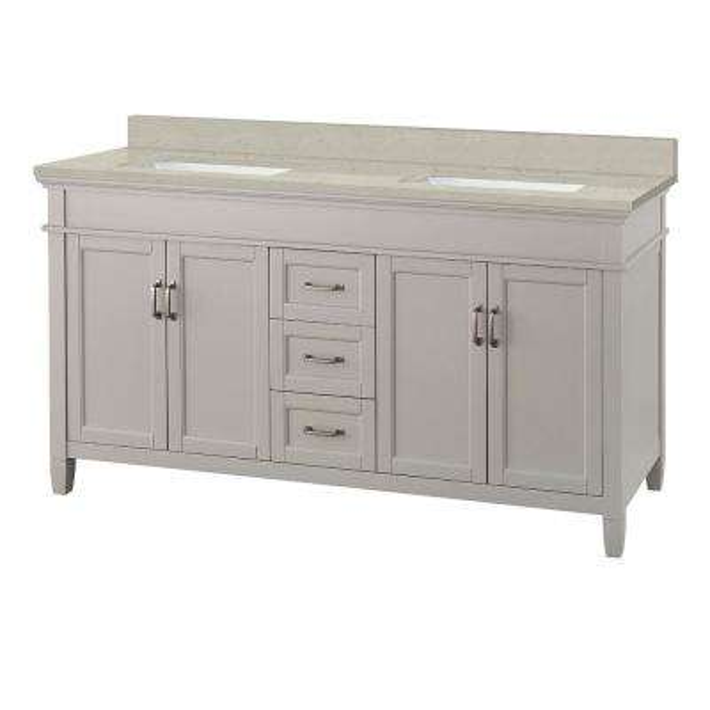 Ashburn 61 in. W x 22 in. D Vanity Cabinet in Grey with Engineered Quartz Vanity Top in Stoneybrook with White Sink