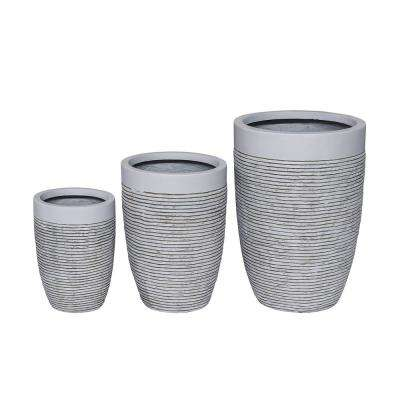 19 in. Fiber Clay Modern Cylindrical Planter (Set of 3)