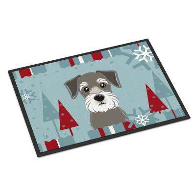 18 in. x 27 in. Indoor/Outdoor Winter Holiday Schnauzer Door Mat