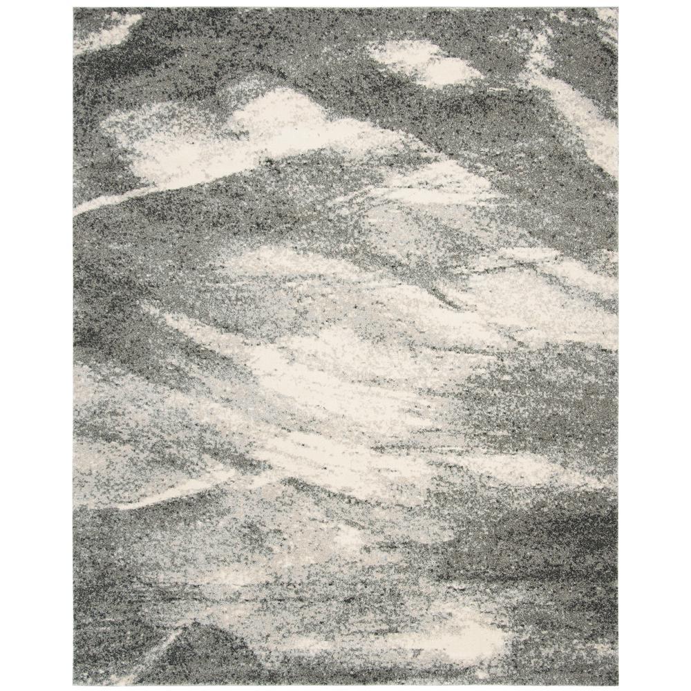 Retro Grey/Ivory 9 ft. x 12 ft. Area Rug