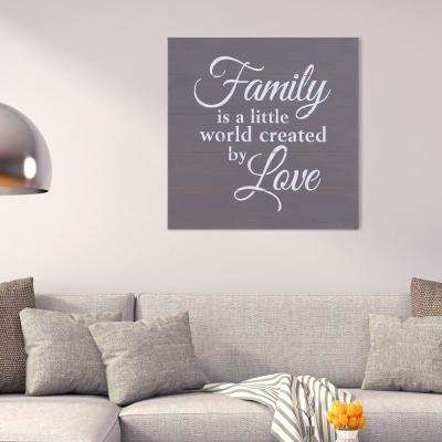 Family is a Little  World Created by Love Planked Wooden Wall Art