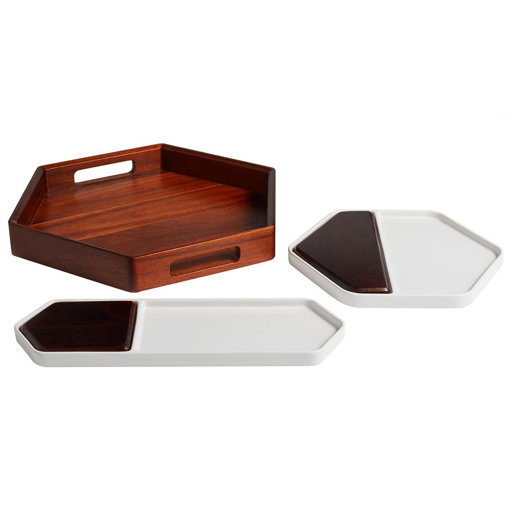 Urban Story 3-Piece Ceramic Serving Tray Starter Set