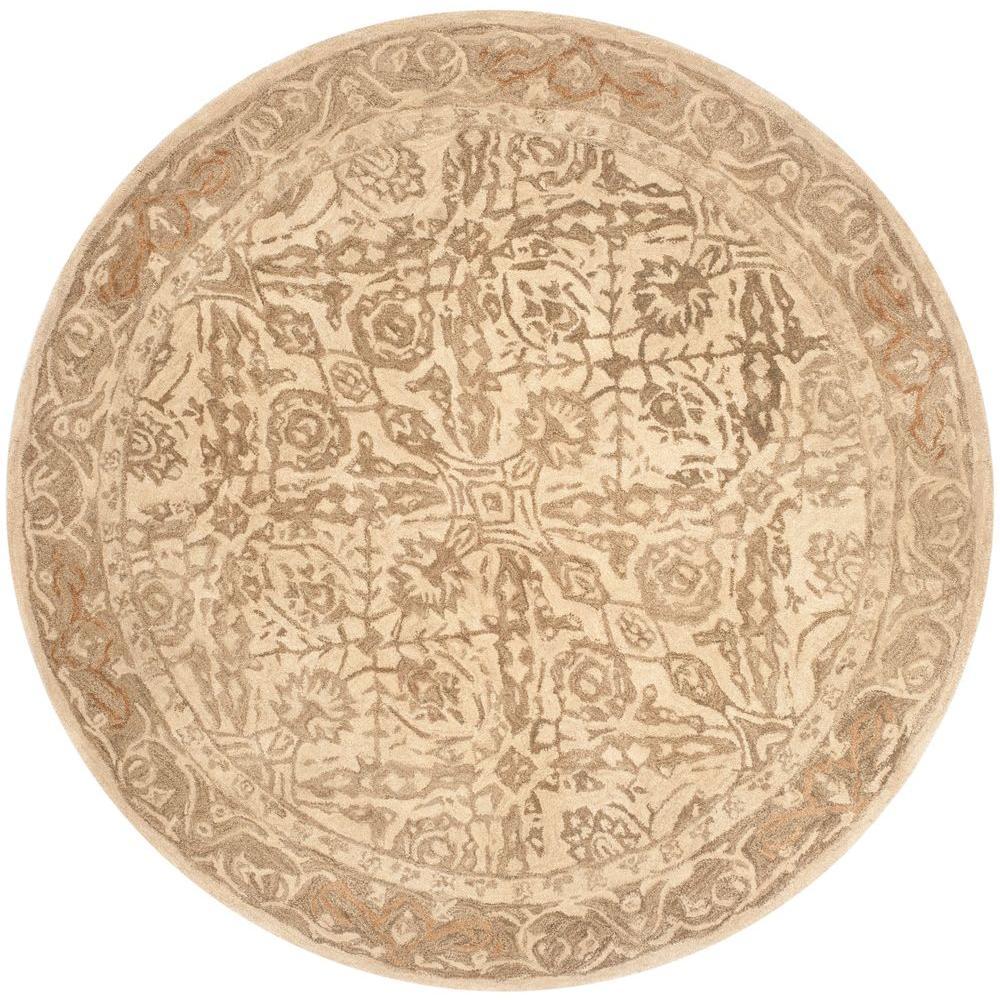 Anatolia Ivory/Grey 6 ft. x 6 ft. Round Area Rug