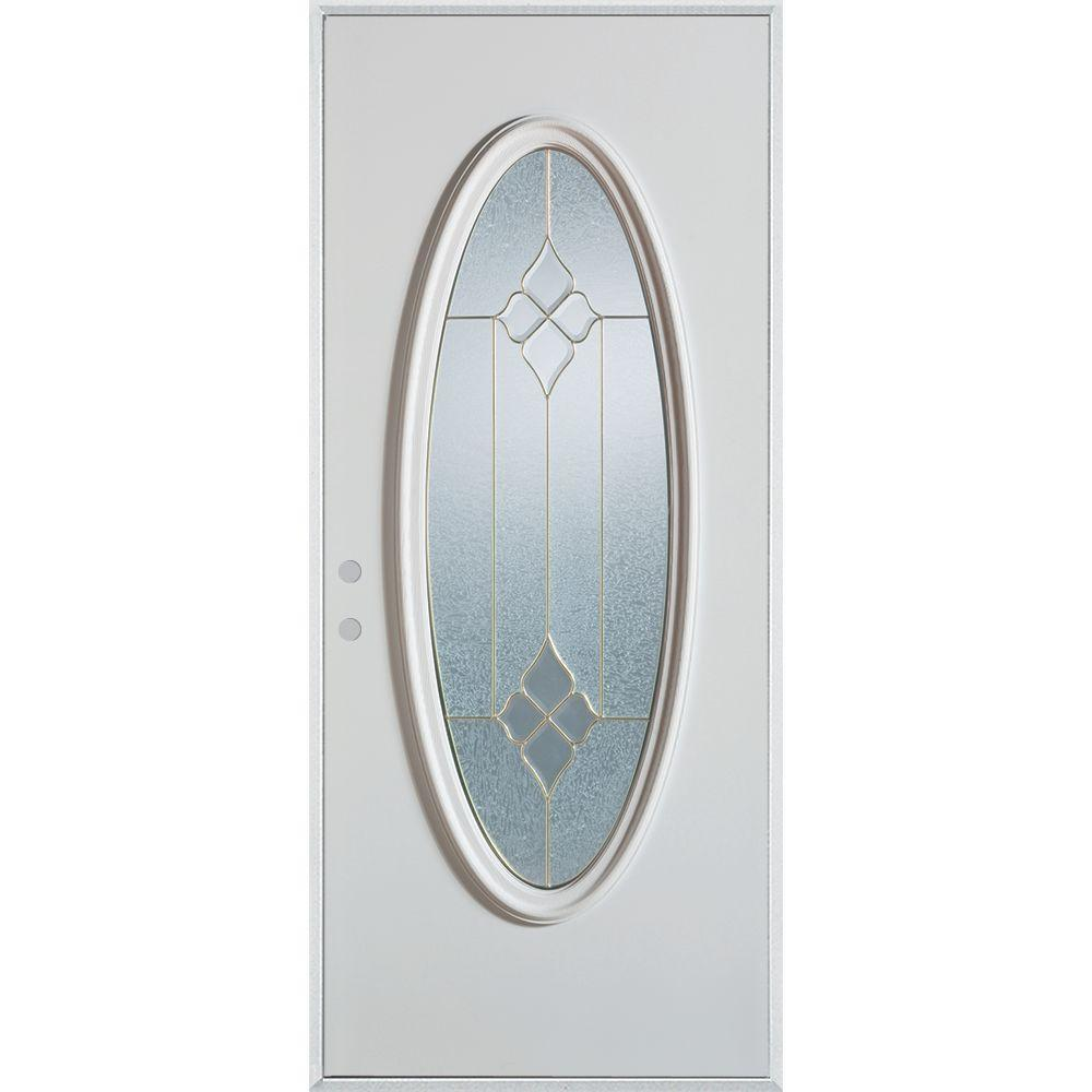 Stanley Doors 36 in. x 80 in. Geometric Brass Full Oval Lite Painted White Right-Hand Inswing Steel Prehung Front Door