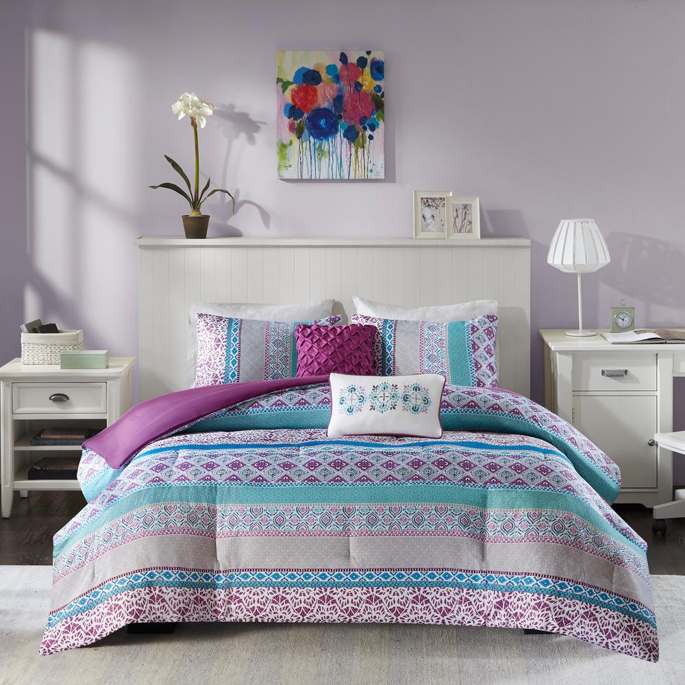 Adley 5-Piece Purple Full/Queen Comforter Set