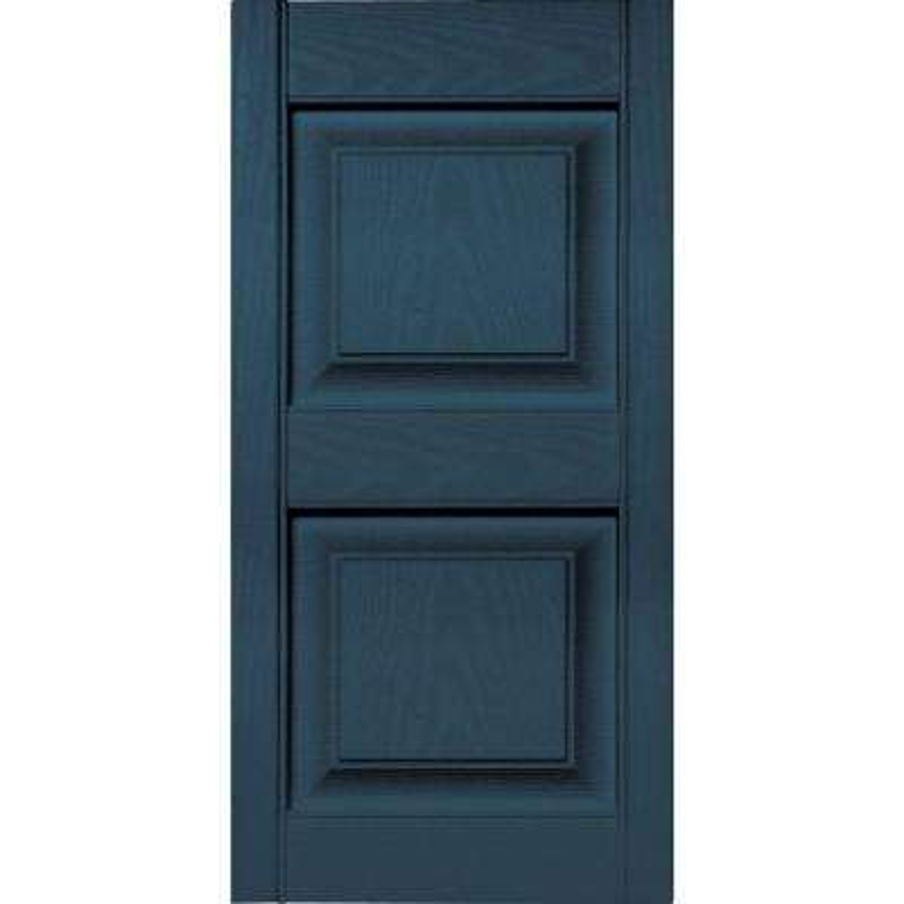 15 in. x 31 in. Raised Panel Vinyl Exterior Shutters Pair in #036 Classic Blue
