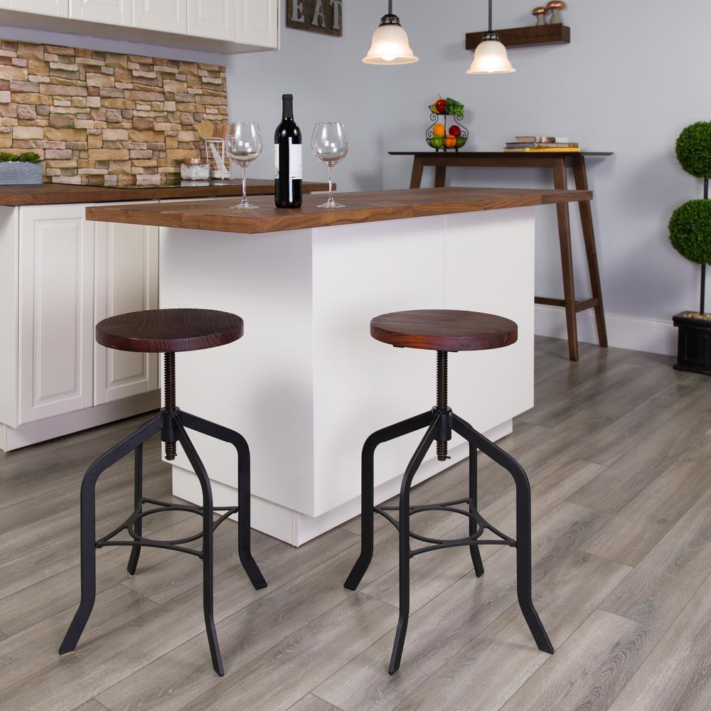 Flash Furniture Adjustable Height Black Bar Stool ETBM373224