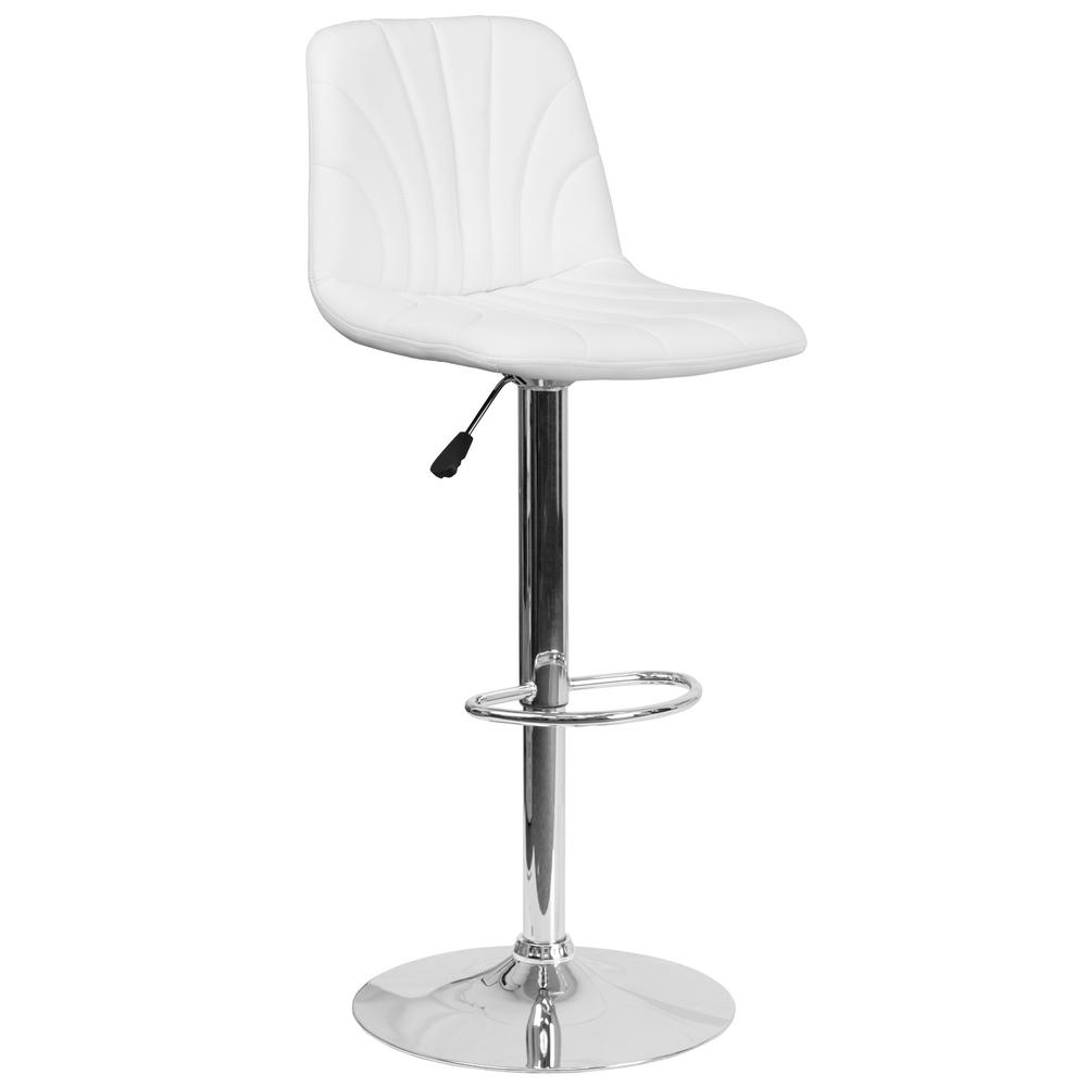 Flash Furniture Adjustable Height White Cushioned Bar