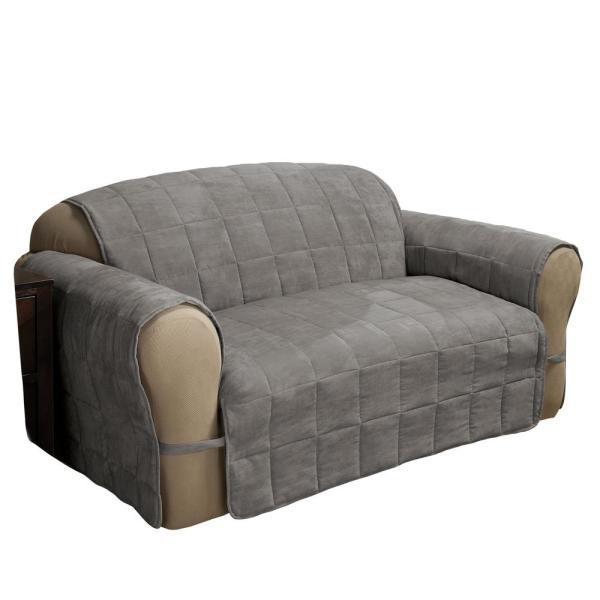Ultimate Faux Suede Gray Loveseat Protector