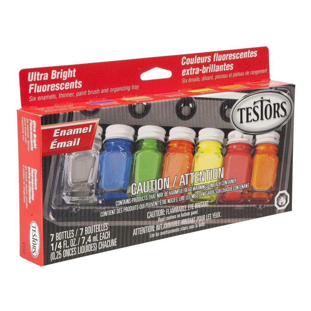 0.25 oz. 6-Color Ultra Bright Fluorescent Enamel Paint Set (6-Pack)