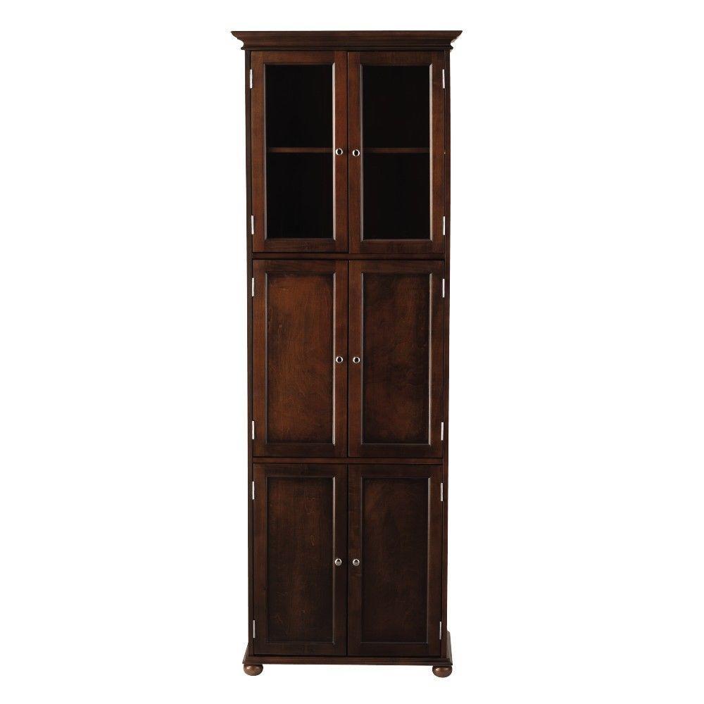 Hampton Harbor 25 in. W x 14 in. D x 72 in. H Linen Cabinet with in Sequoia