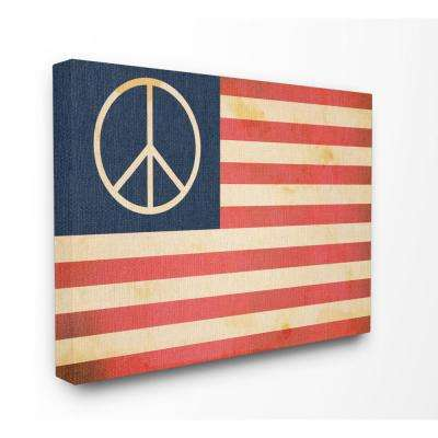 """24 in. x 30 in. """"Peace American Flag"""" by Daphne Polselli Printed Canvas Wall Art"""