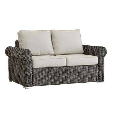 Camari Charcoal Rolled Arm Wicker Outdoor Loveseat with Beige Cushion