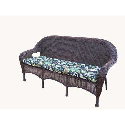 Coffee Wicker Outdoor Sofa with Black Cushions
