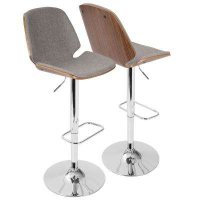 Serena Walnut and Grey Adjustable Barstool