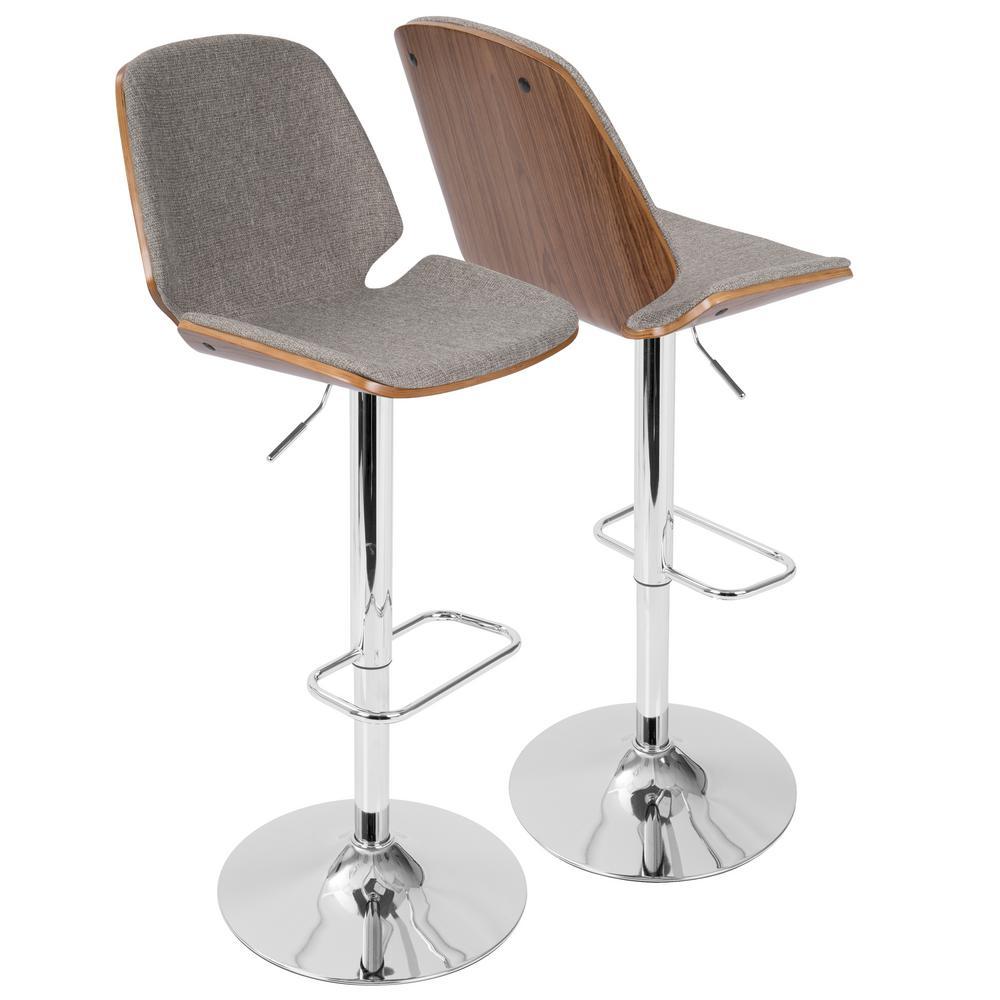 Serena Walnut and Grey Adjustable Barstool