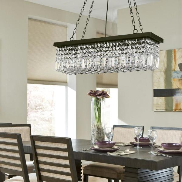 Sefinn Four Hanley 5 Light Black Rectangle Raindrop Chandelier With Clear Crystals B7524 5 The Home Depot