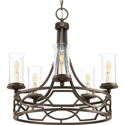 Soiree Collection 5-light Antique Bronze Chandelier with Clear Seeded Glass Shade