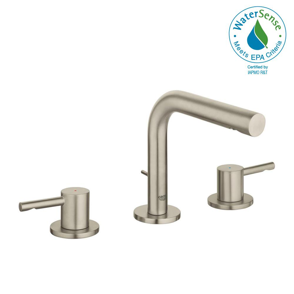 GROHE Essence New 8 in. Widespread 2-Handle 1.2 GPM Bathroom Faucet ...