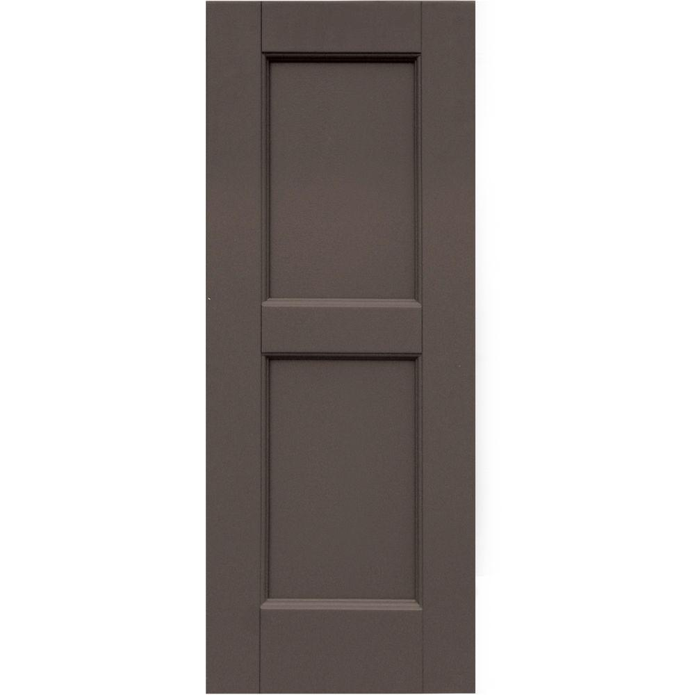 Winworks Wood Composite 12 in. x 31 in. Contemporary Flat Panel Shutters Pair #641 Walnut