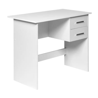 36 in. Rectangular White 2 Drawer Writing Desk with Built-In Storage