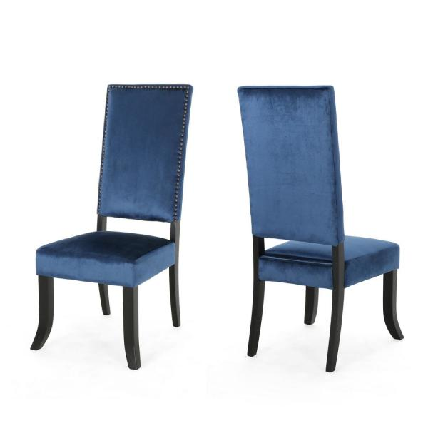 Noble House Coquille Glam Cobalt Velvet High-Back Dining Chairs with Nailhead