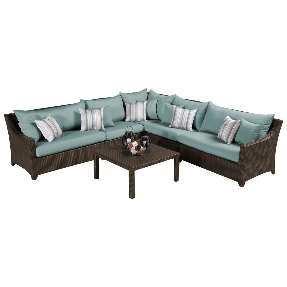 RST Brands Deco 6-Piece Wicker Patio Sectional Seating Set with Bliss Blue Cushions
