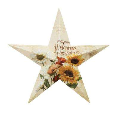 "24 in. Metal ""Welcome"" Botanical Star Wall Hanging"