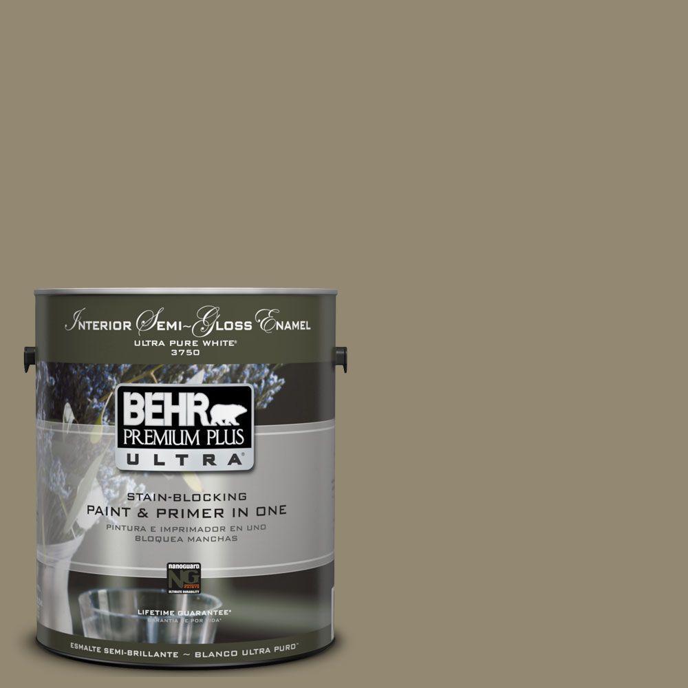 BEHR Premium Plus Ultra 1 gal. #UL190-3 Dry Pasture Semi-Gloss Enamel Interior Paint and Primer in One