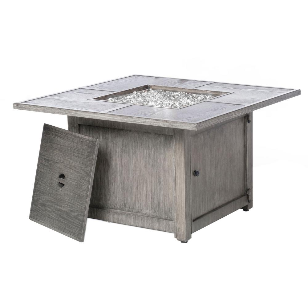 Alfresco Cheyenne 40 in. x 25 in. Square Aluminum Propane Gas Fire Pit Chat Table with Glacier Ice Firebeads