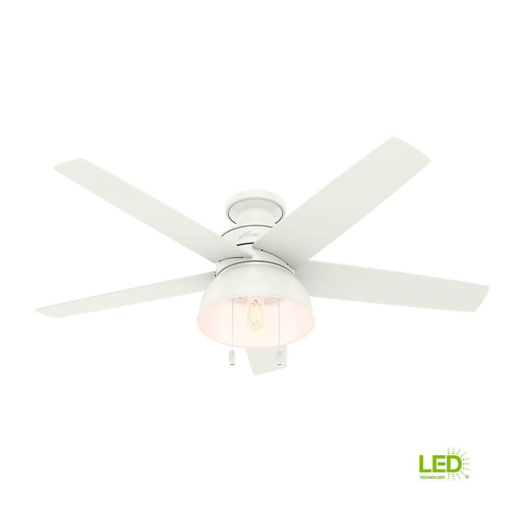 Hunter Bishop Hill 52 in. LED Indoor/Outdoor Fresh White Ceiling Fan with Light Kit