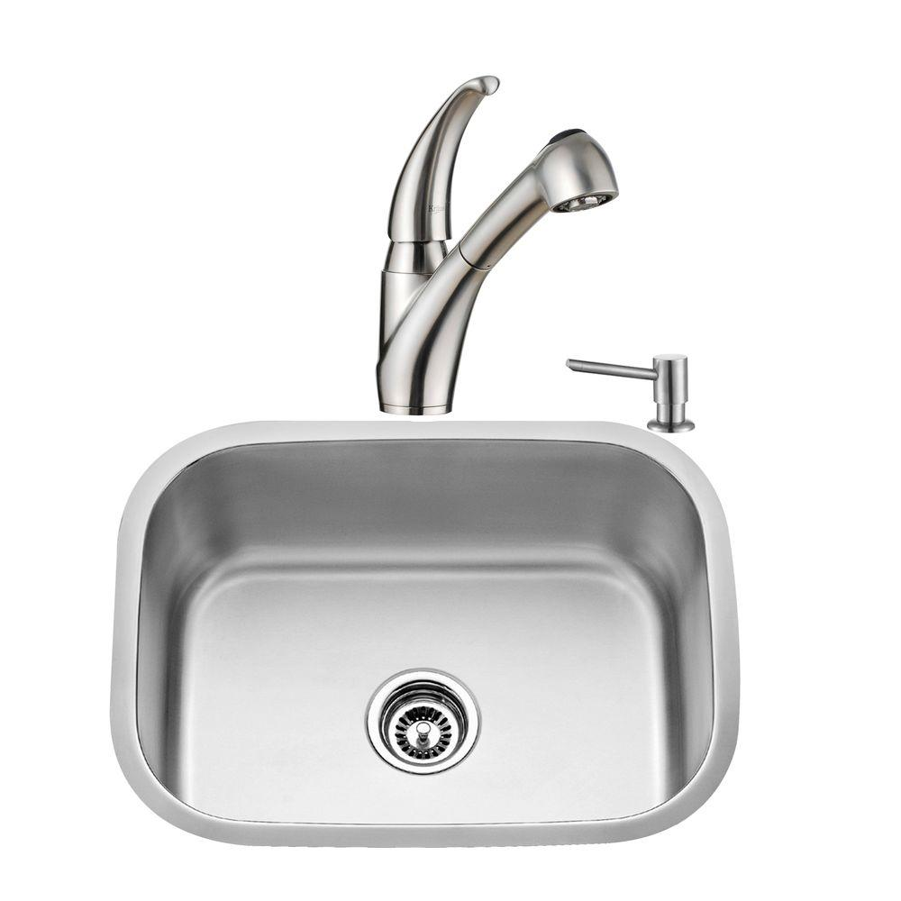 KRAUS All-in-One Undermount Stainless Steel 23 in. Single Basin Kitchen Sink with Faucet and Accessories in Stainless Steel