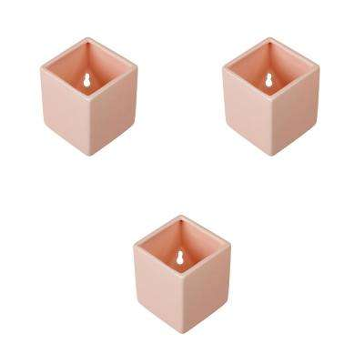 Cube 3-1/2 in. x 4 in. Coral Ceramic Wall Planter (3-Piece)