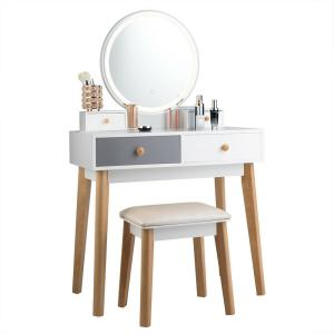 2 Piece Vanity Table Set 3 Color Lighting Modes Makeup Stool Jewelry Divider White Grey