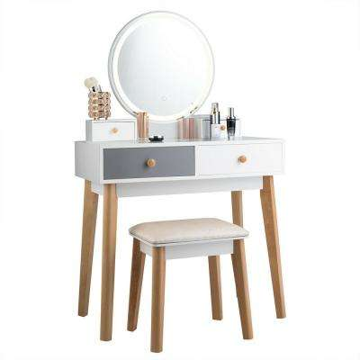 2-Piece Vanity Table Set 3 Color Lighting Modes MakeUp Table & Stool Set Jewelry Divider White Grey